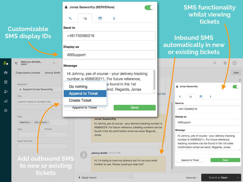 2 Way Sms in Zendesk